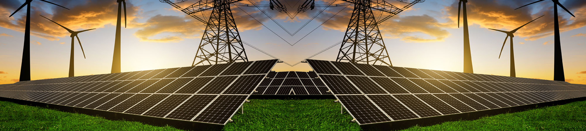 Photo of Power Lines, Wind Turbines, and Solar Panels